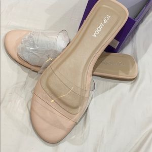 Nude clear sandals top moda